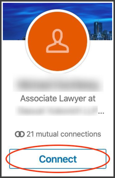An example of how to add a new connection on LinkedIn.