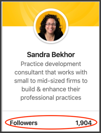 Example of a professional's LinkedIn follower count.