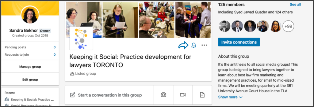 An example of the LinkedIn group, 'Keeping it Social: Practice development for lawyers TORONTO'.